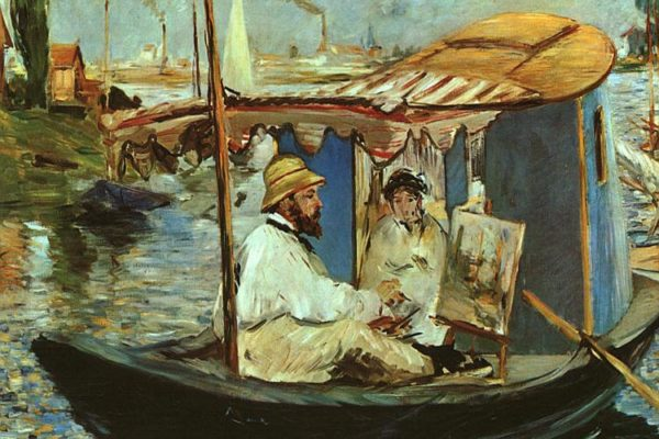 Edouard Manet, Claude Monet on his Floating Studio in Argenteuil, 1874