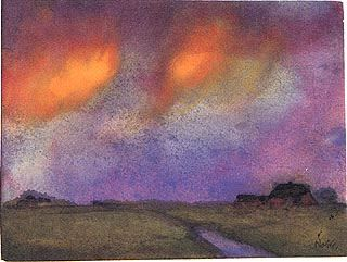 Emil Nolde, Marshy Landscape Under the Evening Sky, c. 1943