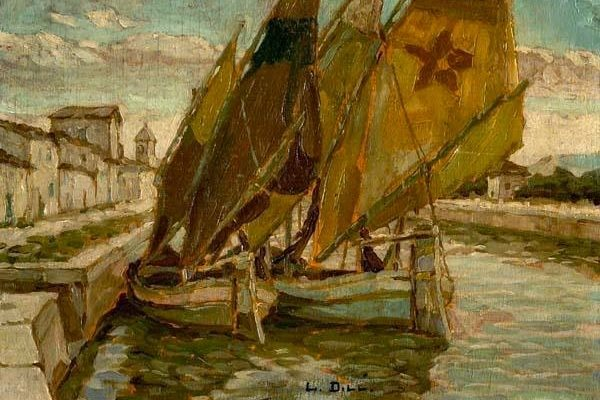 Ludwig Dill, Sailboats in a Canal,1890