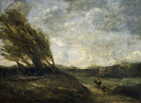 A Gust of Wind (Le coup de vent), 1865, by Jean-Baptiste Camille Corot (1796-1875), oil on canvas, 60x80 cm.