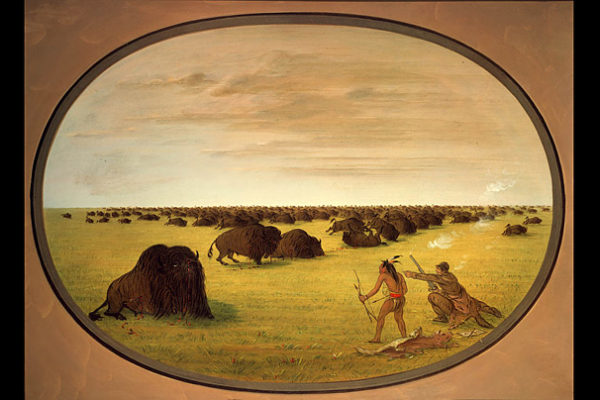 """George Catlin, """"Catlin and Indian Attacking Buffalo"""" (1861-69)"""