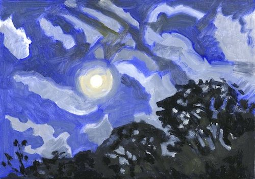 Lois Dodd moon-with-halo-and-clouds