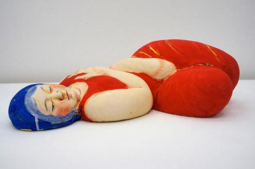 akio-takamori-lust-sleeping-woman-in-red-dress-ceramics-gallery-kansas-city
