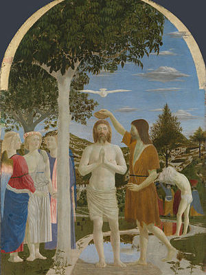 Piero della Francesca, Italian Renaissance, The Baptism of Christ, 1448-50