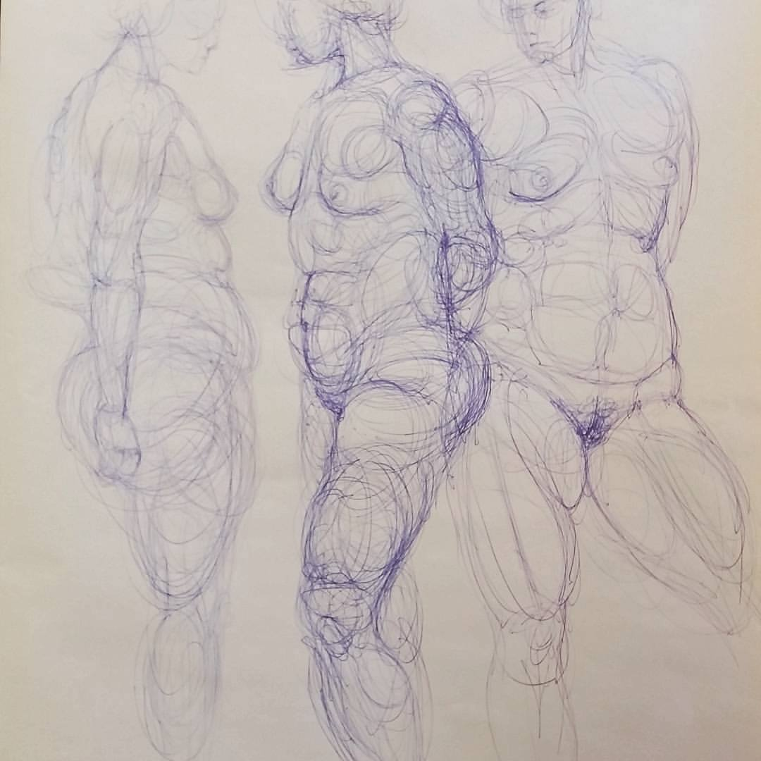 Continuous line drawings from figures draw paint sculpt