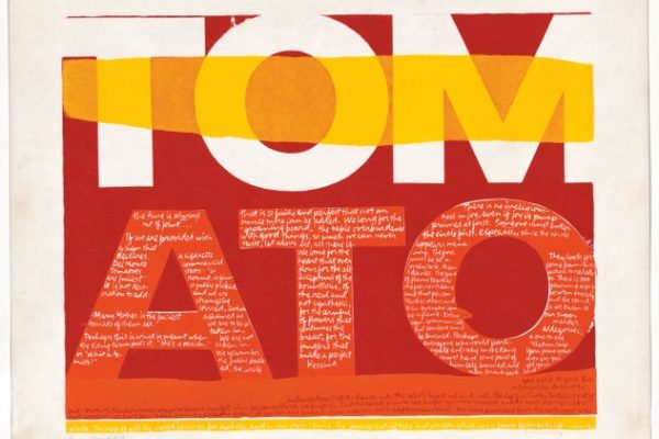 With her 1964 screenprint the juiciest tomato of all, Corita Kent created a word portrait of the Virgin Mary as a tomato.