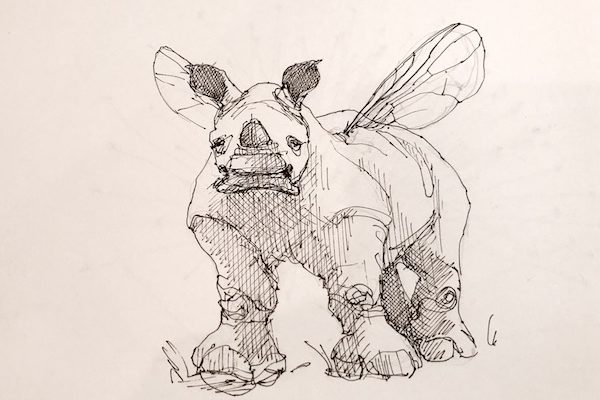 Rhino with Wings