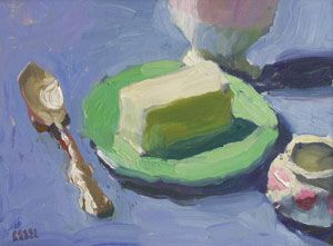 Peggi Kroll Roberts, Butter on Green Plate, Oil on Canvas