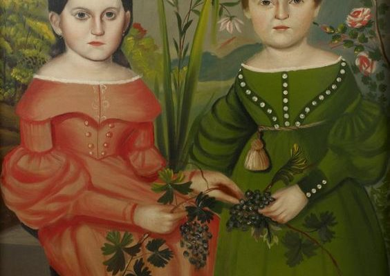 Double Portrait of Two Children Wearing Red and Green Dresses, American Folkart. 1820-1830